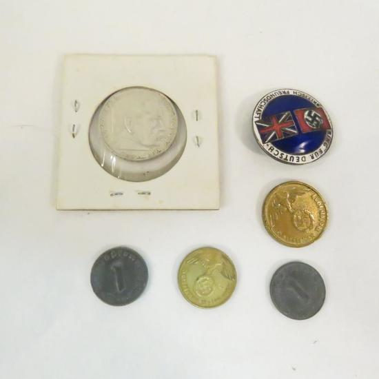 German-British Friendship Badge & German coins