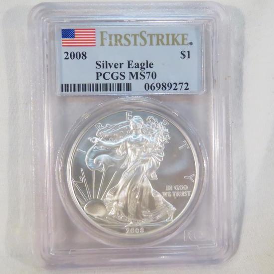 2008 American Silver Eagle PCGS Graded MS70