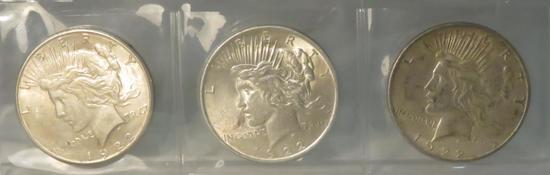 1922 P,D,S Peace Silver Dollars