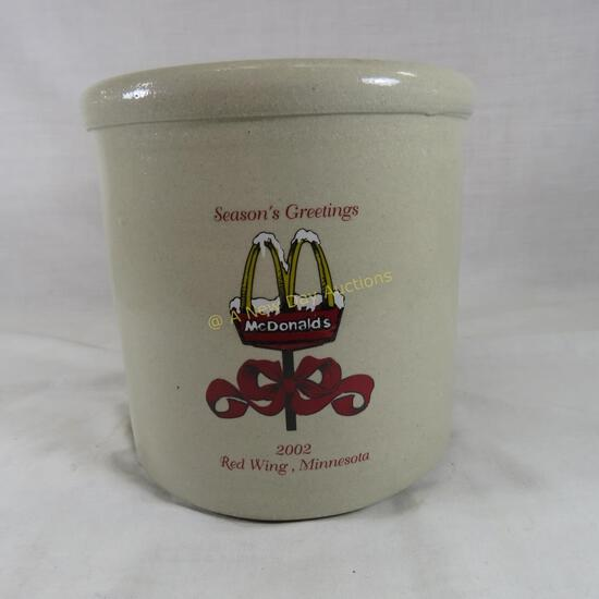 2002 McDonalds Seasons Greetings Red Wing crock