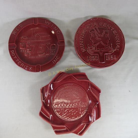 2 Red Wing commemorative ashtrays and Trivet