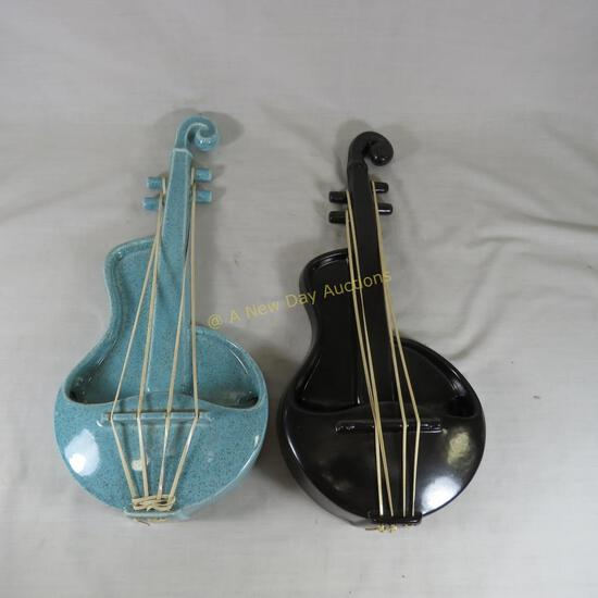 Red Wing Violin wall pockets, Black & Turquoise