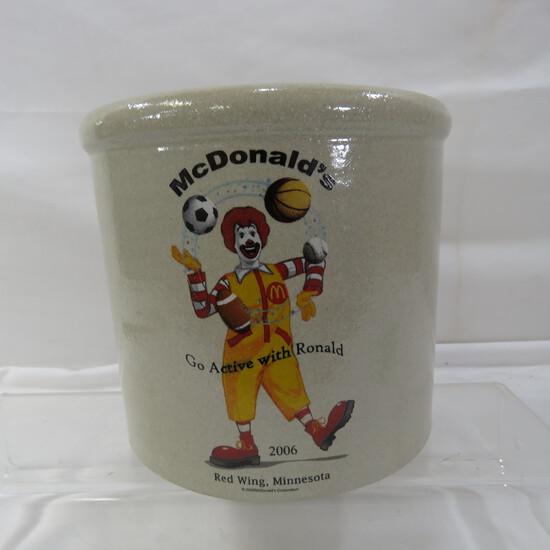 2006 McDonalds Go Active W/ Ronald Red Wing crock
