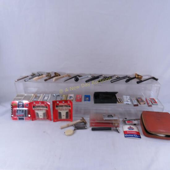 Collection of vintage razors and blades