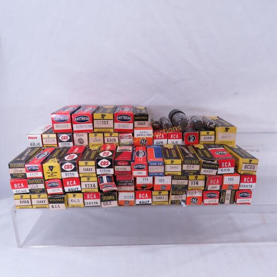 Vintage electronics tubes in boxes