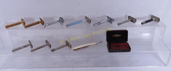 10 Vintage safety razors & 1 straight razor