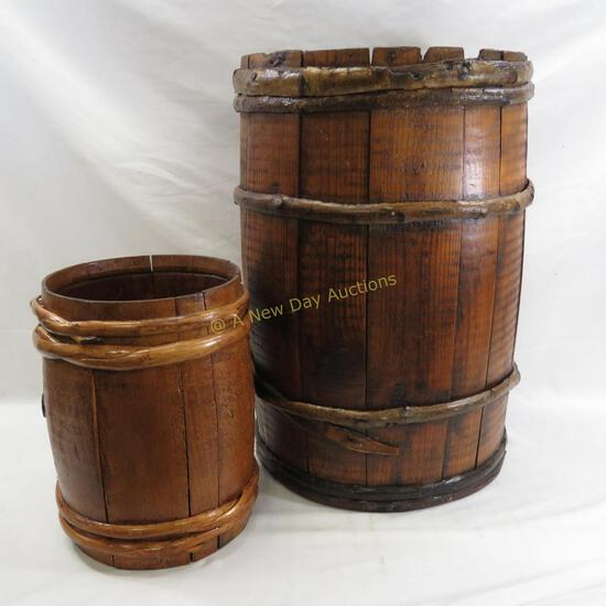 2 Antique Hand Made Wooden Barrels