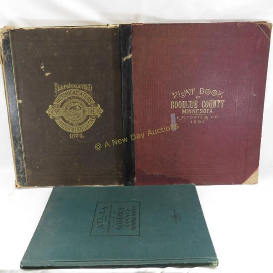 1874 MN Atlas & 2 Goodhue County Books
