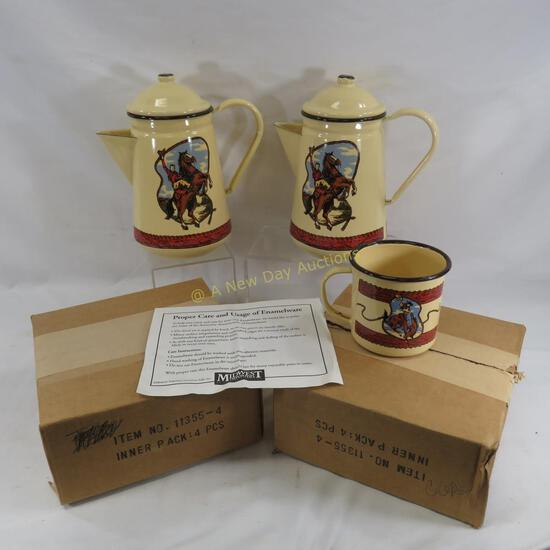 2 sets Midwest Importers Enamel Round-Up Ranchware