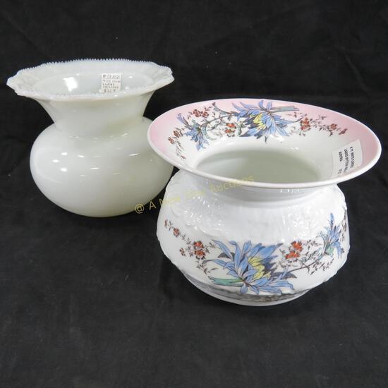Antique Milk Glass & Ceramic Ladies Spittoons