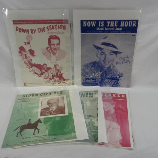 9 pieces of vintage sheet music with Bing Crosby