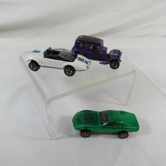 3 Hot Wheels Redlines - Jack Rabbit, Custom Vette