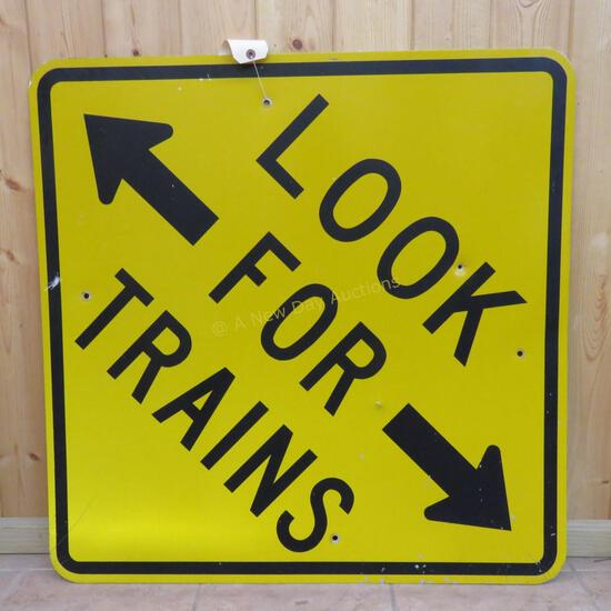 """""""LOOK FOR TRAINS"""" Crossing Sign 49x49"""""""
