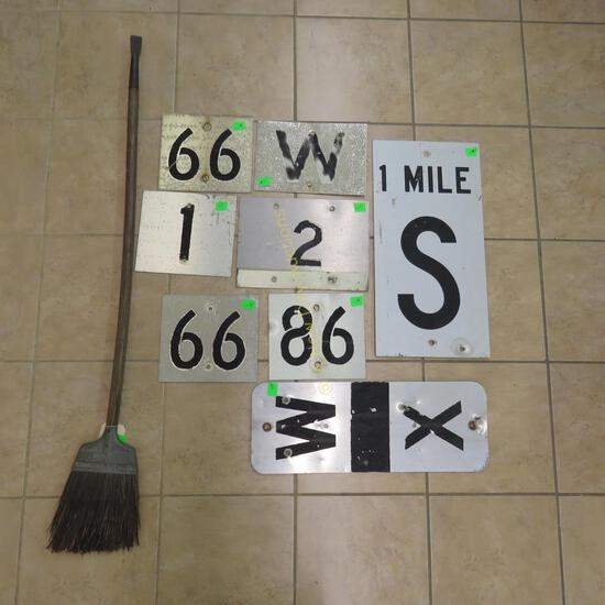 GN Straw Broom & 6 Row Signs