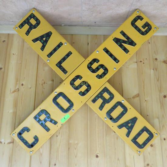 """Yellow """"RAILROAD CROSSING"""" Sign With Green Marbles"""