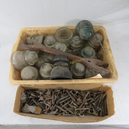 Box of Date Nails, Insulators and Wrench