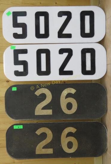 4 Number Boards- 5020 (2), 26 (2) Milwaukee Rd