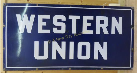 """""""WESTERN UNION"""" Blue Porcelain Sign 48x24"""""""