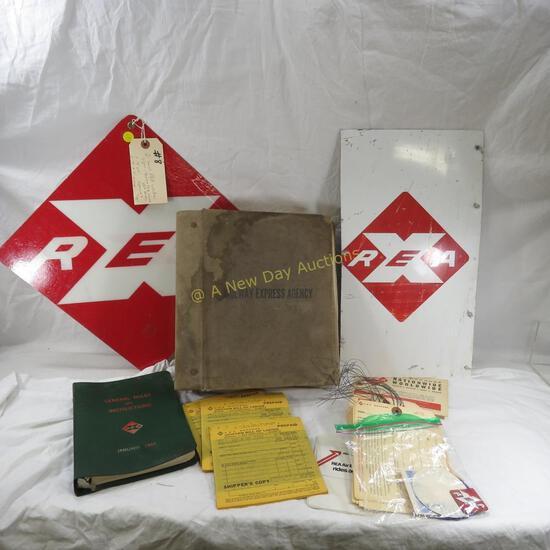 2 1960's REA Window Signs, Book, Paper Work
