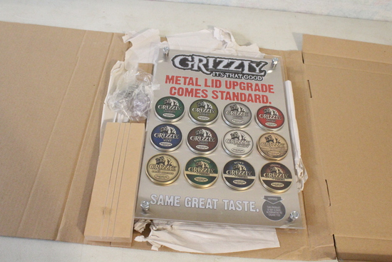 """Store Display 17"""" x 12"""" Grizzly Tobacco Tins Wall"""