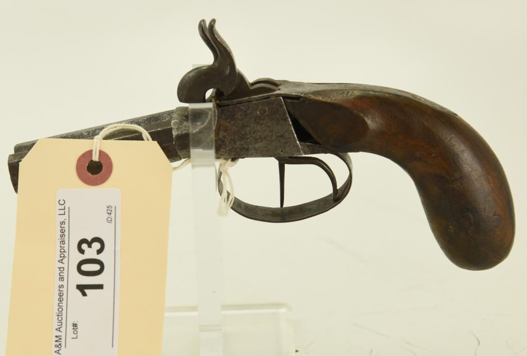 "Lot #103 -Ukn. MakerMdl Screwbarrel SxS  Perc. Pistol.40 Perc SN# 40~~2.5"" BBL,  Belgium?,"