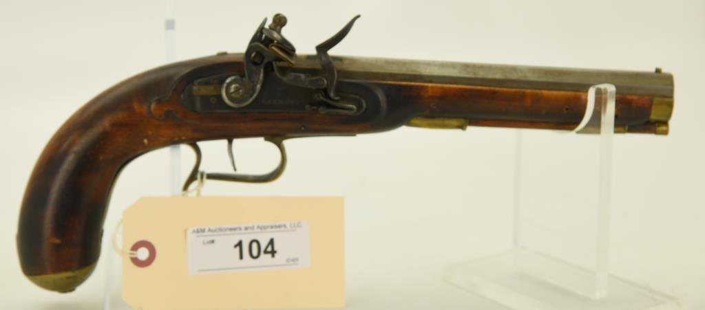 "Lot #104 - Barnett Flintlock  Pistol.40 PercSN# None~~8"" BBL, Copy of  Kentucky Type"