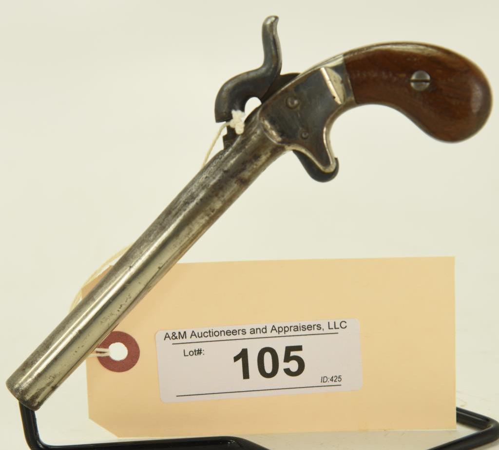 """Lot #105 -Unknown Maker Mdl Perc. Pocket  Pistol or Muff Pistol.36 PercSN#  793~~4-1/2"""" BBL,"""