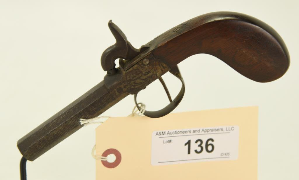 "Lot #136 -Unknown MakerMdl Boot Jack Perc.  Pistol.44 CalSN# NSN~~3.5"" Octagonal BBL."