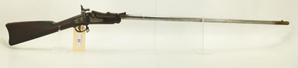 "Lot #33 -US/SpringfieldMdl 1868 Trap Door Rifle.50 CalSN# 45299~~24.5"" BBL, Stock  cut down,"