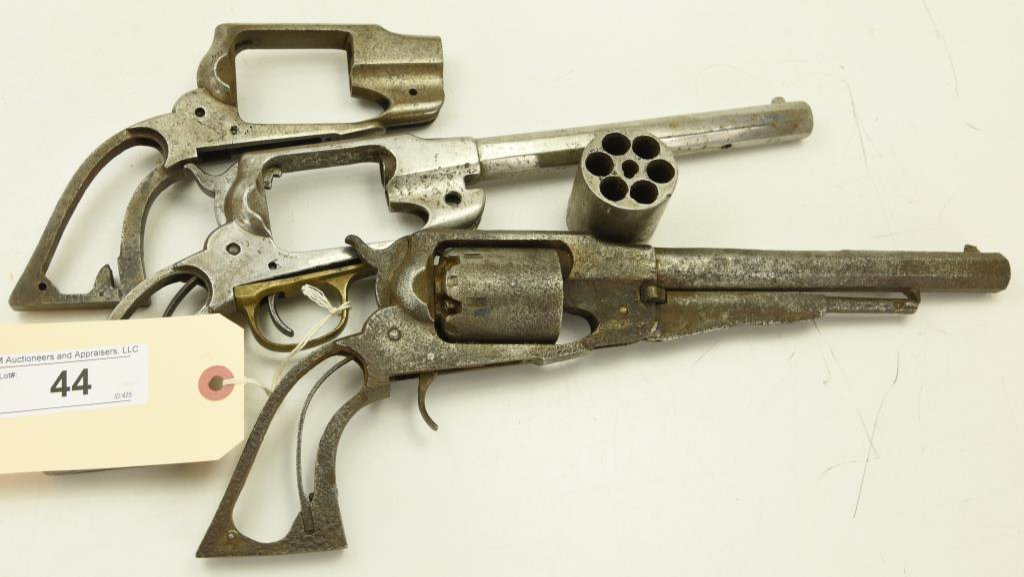 Lot #44 -Unk. MakerMdl 3 Blackpowder Handgun Frames, 2 with Barrels and one
