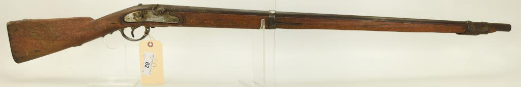 "Lot #62 - Unk. Maker Mdl Percussion  Musket .69 Cal +/- SN# 851~~ 36"" BBL, 52""  OAL. Hammer &"