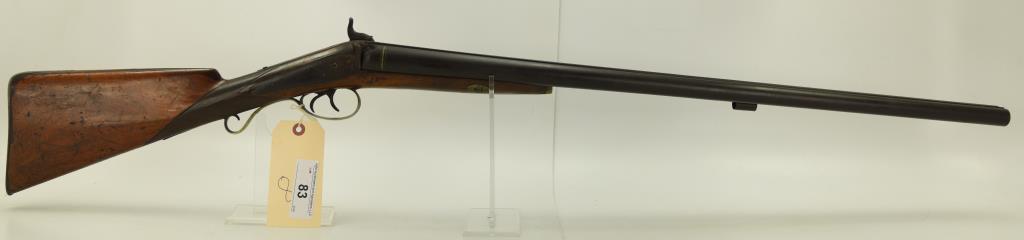 "Lot #83 -Unk. Maker BelgianMdl Percussion  Shotgun SxS8 GaSN# 194~~30"" BBL, Light  refin"