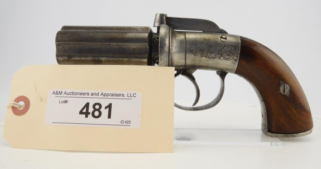Lot #481 -Unk MakerPepperbox Perc DA Pistol