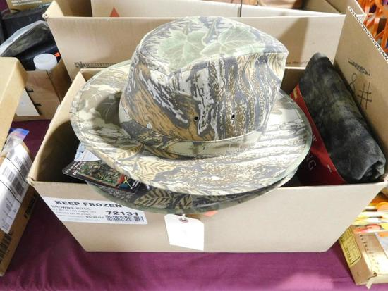 Lot #10 - (2) Real Tree Xtra Safara style camo hats (new with tag), Camo seat pad, Allen  12'x