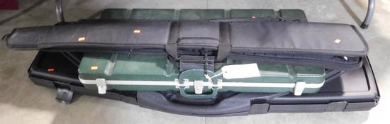 Lot #14 - Weatherby Rifle soft case, Double R Rifle hardcase, Protector Kaddy green hard  case