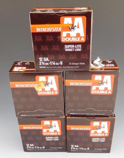 Lot #15 - (5) full boxes of Winchester Double A, Super-lite Target load, 12 GA, 2 ¾ in, 1  1/8
