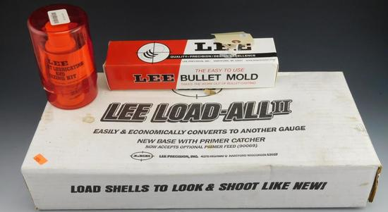Lot #160 - Lee Load ALL II Reloader with Primer Catcher in original box, Lee Bullet Mold in