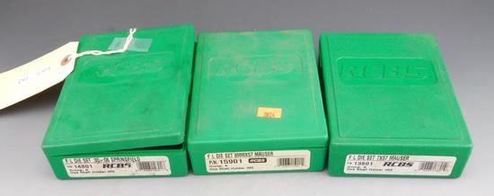 Lot #162 -(3) RCBS Reloading Dies in plastichardcases: .30-06 Springfield, 7x57mm Mauser,  8mm