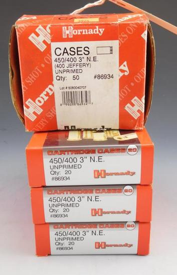 "Lot #164 - (4) Boxes of Hornady 450/400 3"" N.E. (400 Jeffery) Cartridge Cases all new never  used"