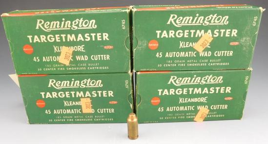 Lot #17 - (4) full boxes of Remington Targetmaster, .45 Auto Wad Cutter, 185 grain