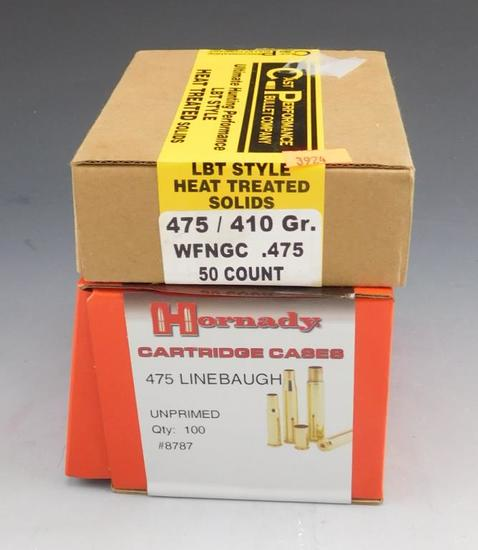 Lot #170 - (1) box of  Hornady .475 Linebaugh Cartridge cases (100 total), (1) Cast  Performance