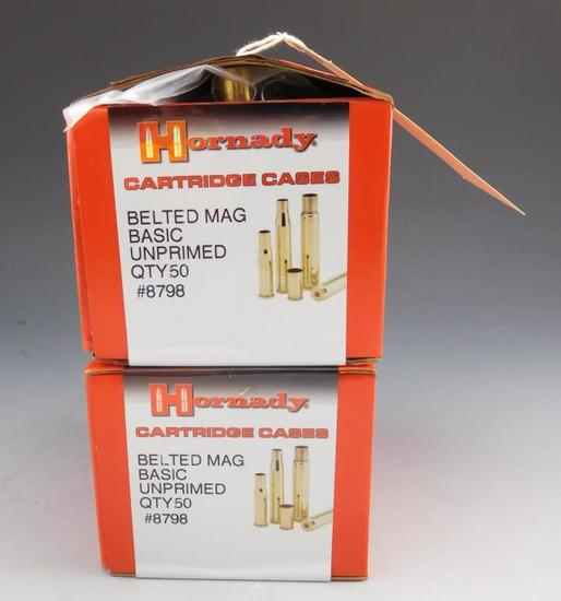 Lot #173 - (2) Boxes of Hornady Belted Mag Basic Unprimed cases (approx 100 total)