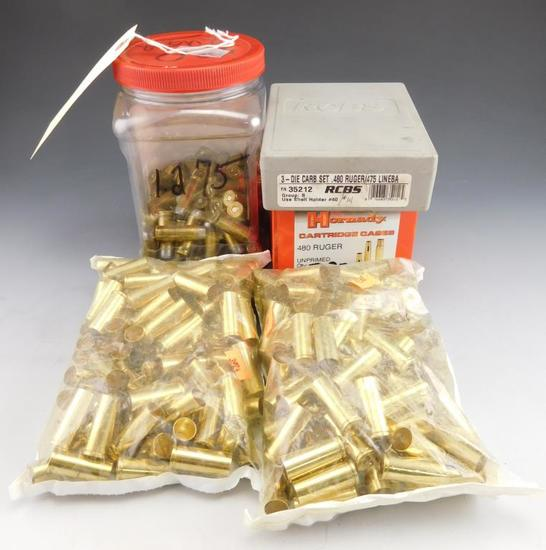 Lot #174 - (1) RCBS 3 Die Carb set .480 Ruger /475 Linebaugh, (1) box of Hornady .480 Ruger  un