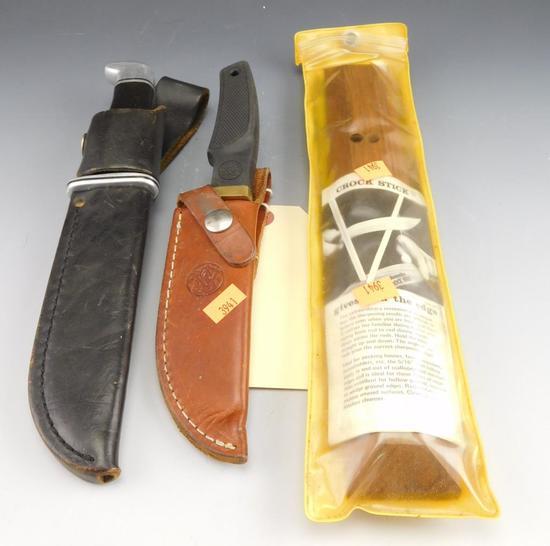 """Lot #20 -Buck Model 119 Knife in sheath (10""""),Smith & Wesson  9 ¼"""" in sheath, Crock Stick"""