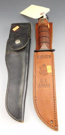 "Lot #21 -Buck model 119 knife in sheath (10""),US Army Ka-Bar in letter US Army leather  sheath"