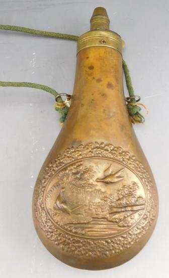 "Lot #294 - Antique Brass shot flask with pheasant and flower motif 8"","