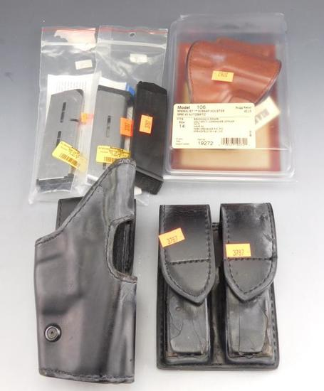 Lot #296 - Various Holsters and Clips to include; Safariland belt Holster for glock 17,