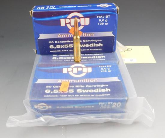 Lot #81 -(100) rounds of PPU, 6.5* 55 Swedish,139 GR, F.M.J, BT