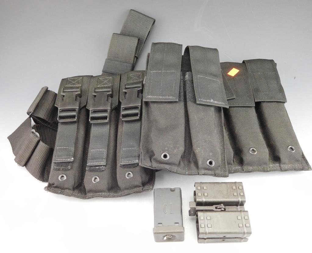 Total of 6 HK MP5 30 Rd Mags. 3 Are in an EagleIndustries Drop leg Holster (Date Code: IG ).