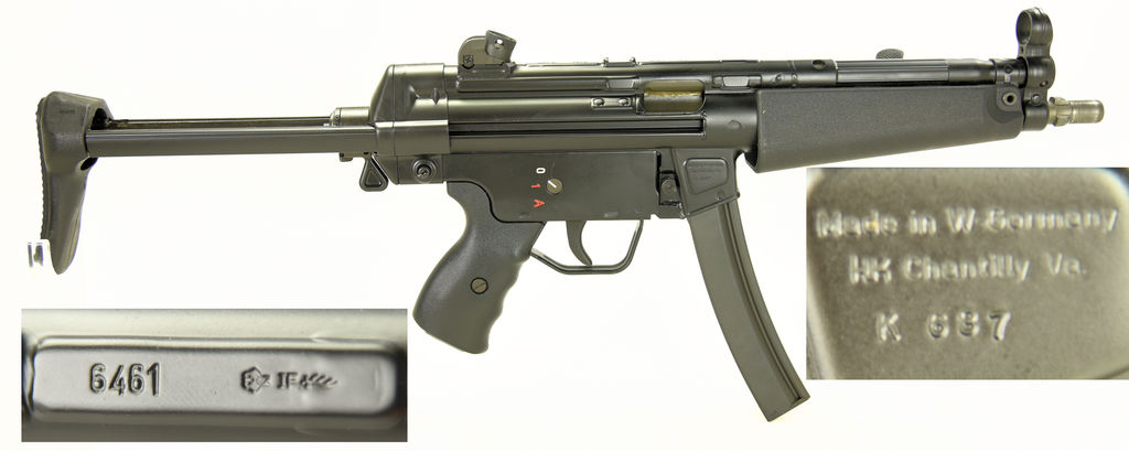 "Heckler & Koch MP5 Full Auto Sub Machine gun. SN#: 6461. Reg Sear Serial # K637. Date Code ""IF"" 1985"